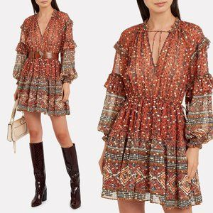 ULLA JOHNSON Erisa Ruffled Georgette Print Dress